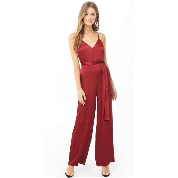 56176a5705ca5  NEW  SATIN Red Cami Jumpsuit XS - Forever 21
